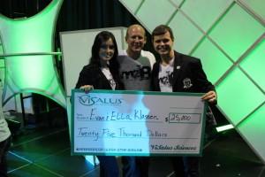 Evan Klassen_and Ella Klassen receiveing a 25 thousand bonus chaeck from Visalus_Kail Pacety_ Nick Sarnicola