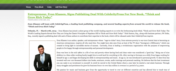 "Entrepreneur, Evan Klassen, Signs Publishing Deal With CelebrityPress For New Book, ""Think and Grow Rich Today"""